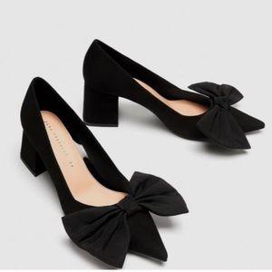 ZARA medium heel court shoe with bow Black
